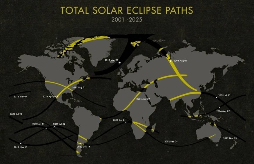 Mapa con el Total de Eclipses Solares para el Periodo: 2010-2025