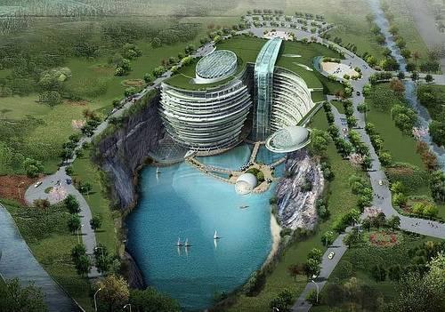 El Futurista Songijiang Hotel con sus dos plantas subacuáticas