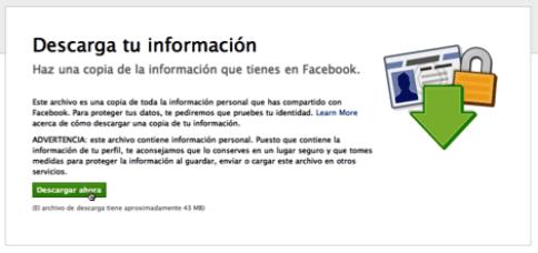 Como respaldar toda tu información contenida en Facebook