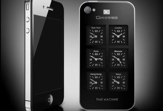 iPhone 4 de Gresso: Un teléfono de lujo con 6 relojes suizos al dorso