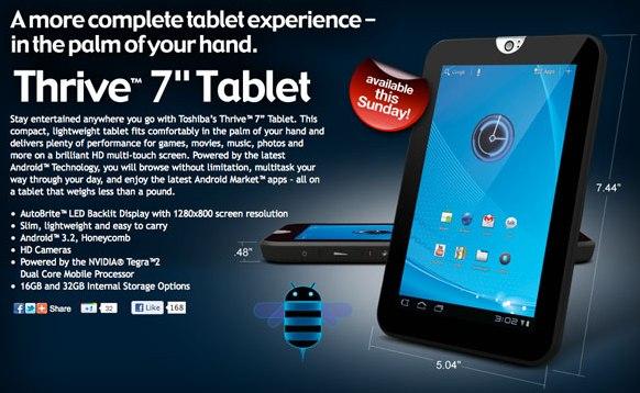 Toshiba Thrive 7 sale a la venta de manera oficial