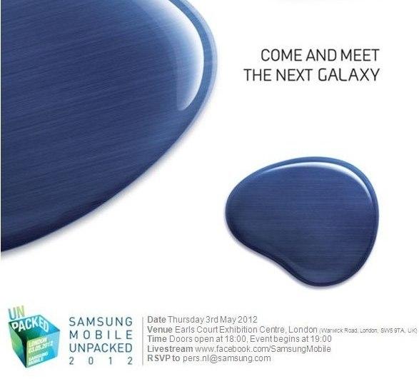 Confirmado: El Samsung Galaxy S3 será lanzado oficialmente el 3 de mayo en Londres