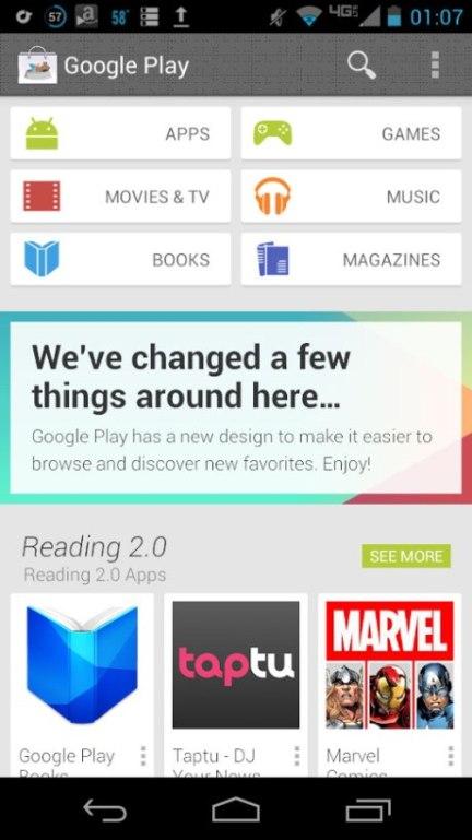 Google Play cambia de diseño