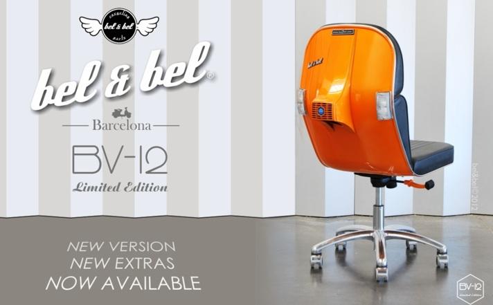 Silla Vespa Limited Edition BV-08, moderna silla de oficina inspirada en los Scotter Vespa